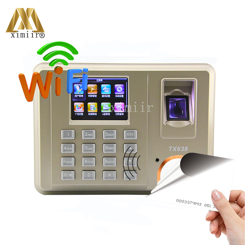 Free Shipping TX638 Fingerprint Time Attendance With WIFI TCP/IP And 125KHz RFID Office Attendance Device