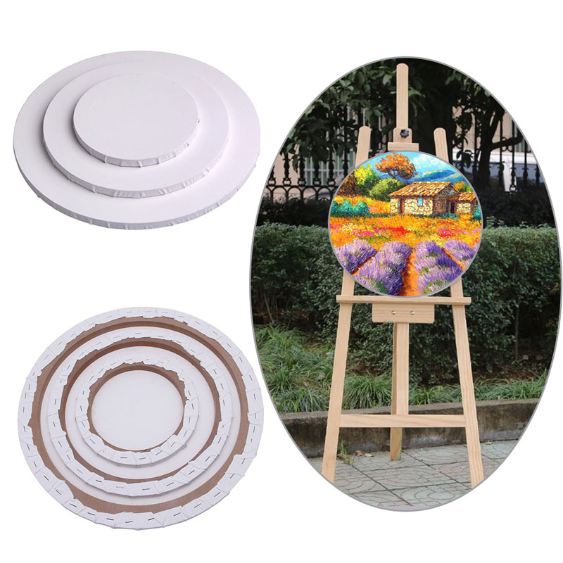 1pc blank panels round art artist painting crafts white canvas board wooden framechina