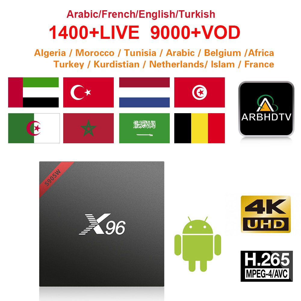 French Full HD IPTV X96W 1 month Free IP TV Turkey Arabic Morocco IPTV Subscription TV Box 4K Belgium IPTV France Arabic IP TV-in Set-top Boxes from Consumer Electronics