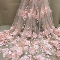 White 3D Beads Lace Fabric 2019 High Quality Mesh Embroidery Applique 3D Flower Tulle Nigerian Lace Fabrics For Bridal XC300a