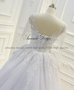 Image 5 - Amanda ออกแบบ robe de mariee แขนยาว Beading ที่ถอดออกได้กระโปรงชุด