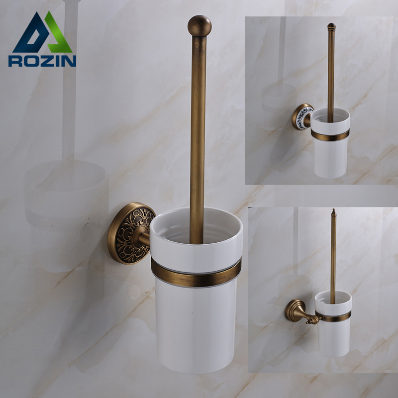 Antique Brass Toilet Brush Holder Bathroom Accessories Useful Toilet Brush Bathroom Products European style free shipping ba9105 bathroom accessories brass black bronze toilet paper holder