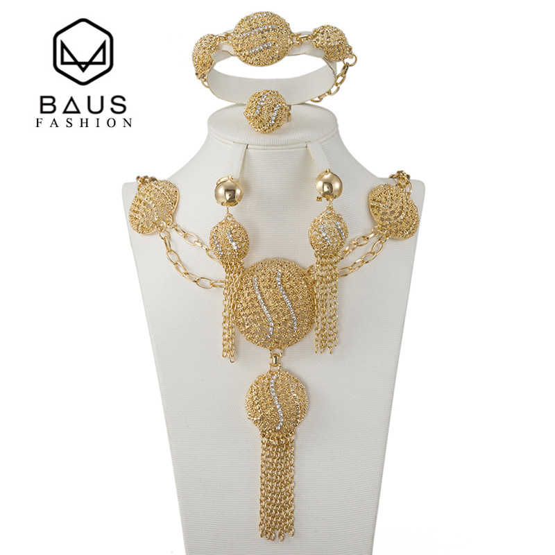 BAUS 2017 Fashion Dubai Jewelry Sets Bridal Gift Nigerian wedding african Gold-color jewelry set Wholesale design Accessories