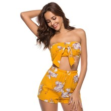 41c9a9a7c29 Women s Floral Print Chiffon Tube Tops Short Pants 2 piece set club outfit  sexy party night