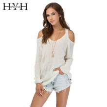 HYH HAOYIHUI Cold Shoulder Autumn Knitted Female Cardigans Pullovers Solid Casual Slim Sexy Long Sleeve Pull Femme Jumper