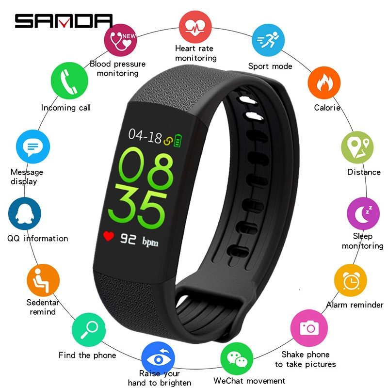 SANDA New Smart Watch Men Bracelet Watches Fitness Tracker Sport Smartwatch Women Heart Rate Monitor Bluetooth for ios androidSANDA New Smart Watch Men Bracelet Watches Fitness Tracker Sport Smartwatch Women Heart Rate Monitor Bluetooth for ios android