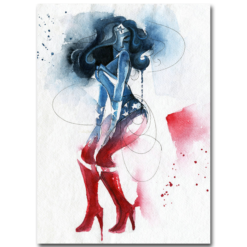 Wonder Woman - Superhero Art Silk Fabric Poster Print 13x18 inch Watercolor Minimalism Picture for Living Room Wall Decor 08
