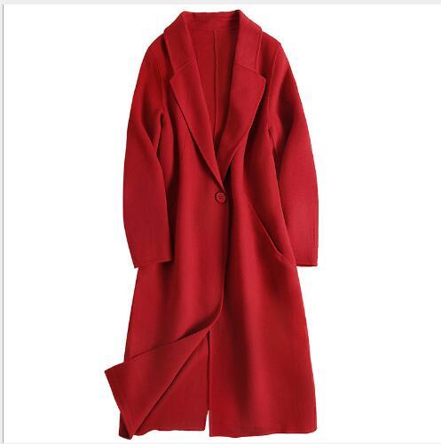 À Élégant En Section red Cachemire Black Double Manteaux Nouveau Femmes De Down Homme Casual Longue Col 2018 Pardessus Laine Face Manteau Turn qwP8X4f