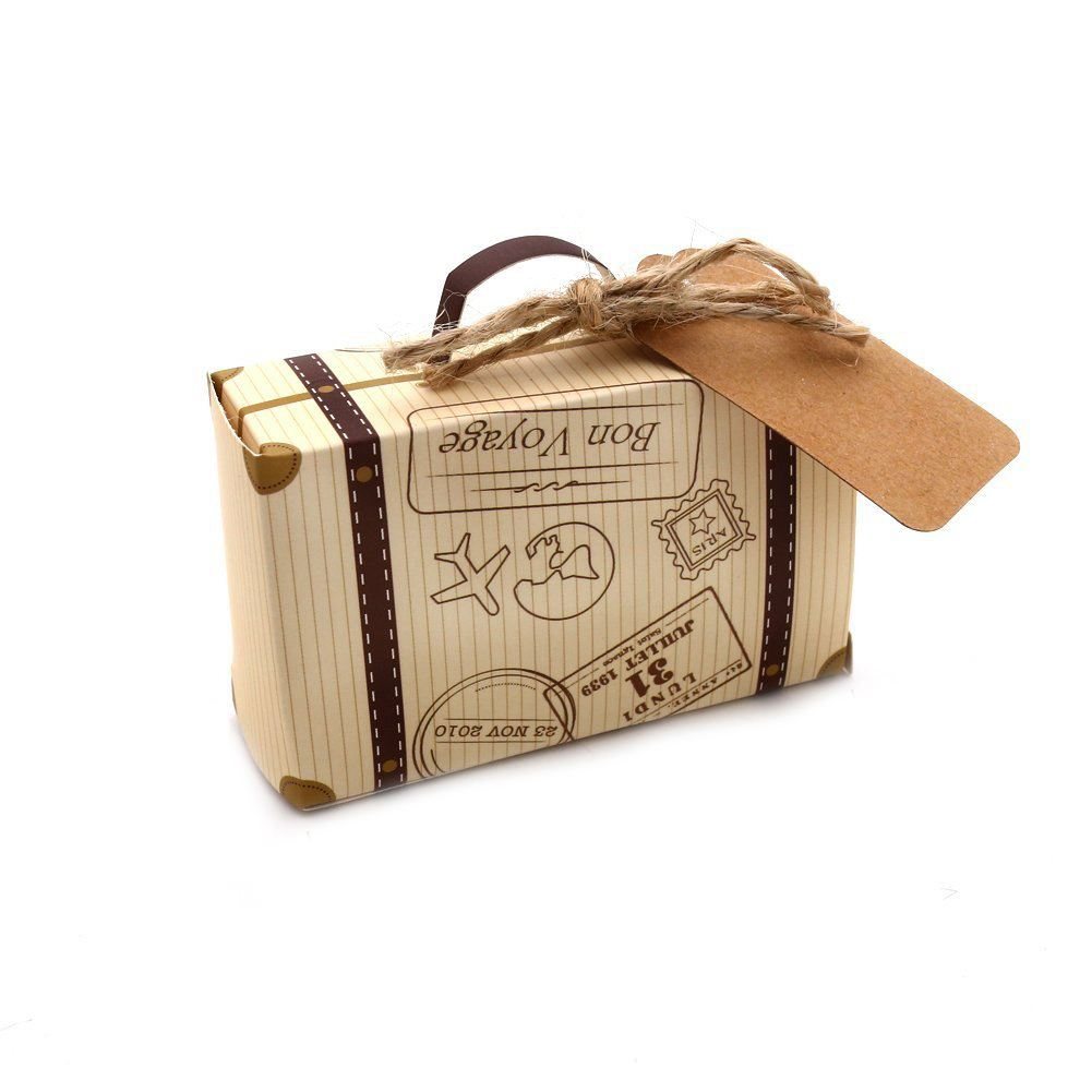 50pcs Mini Suitcase Favor Box Party Favor Candy Box, Vintage Kraft Paper with Tags and rope for Wedding/Travel Themed Party50pcs Mini Suitcase Favor Box Party Favor Candy Box, Vintage Kraft Paper with Tags and rope for Wedding/Travel Themed Party