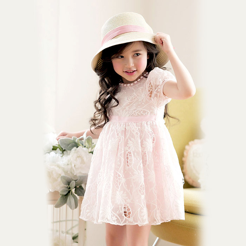 2016 Summer Children Flower Girl Tutu Princess Dress Baby Girls Embroidered Lace Wedding Evening Party Dresses Kids  Clothes new fashion embroidery flower big girls princess dress summer kids dresses for wedding and party baby girl lace dress cute bow