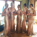 Sparkling Rose Gold Sequined Bridesmaid Dresses Mermaid Plunging Deep V Neck Wedding Party Dress Formal Party Prom Gowns Women