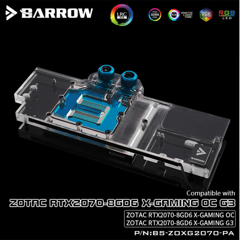 Купить с кэшбэком BS-ZOXG2070-PA, Barrow 5V LRC 2.0 Full Cover Graphics Card Water Cooling Blocks, For Zotac RTX2070-8GD6 X-Gaming OC G3
