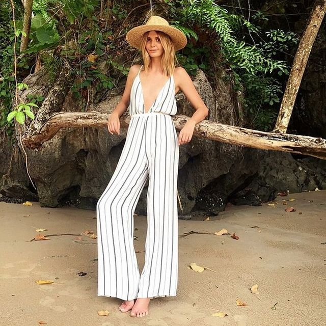 b7fdf7517427 Strap Plunge Deep V Neck Sexy Backless Loose Vertical Striped Print White  Wide Leg Jumpsuit Romper Casual Palazzo Pants