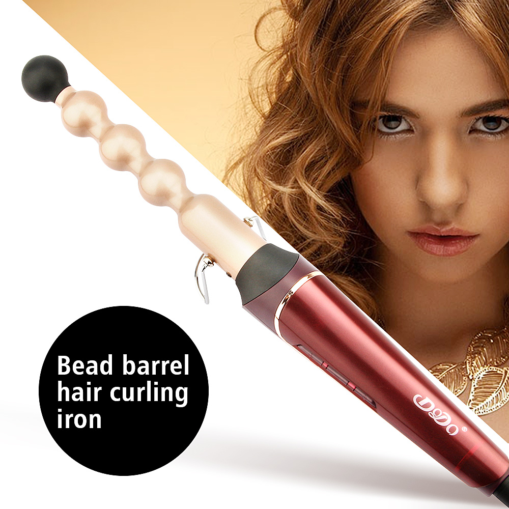 Tourmaline Ceramic Bead Iron Hair Curler Wand LCD Temperature Control Hair Curling Irons Electric Hair Styling Salon Tools kemei km 173 led adjustable temperature ceramic electric tube hair curler