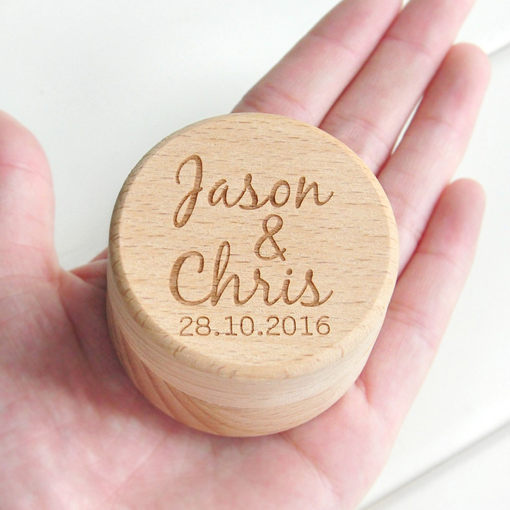 Rustic Wood Holder Custom Your Date Wedding Ring Bearer Box