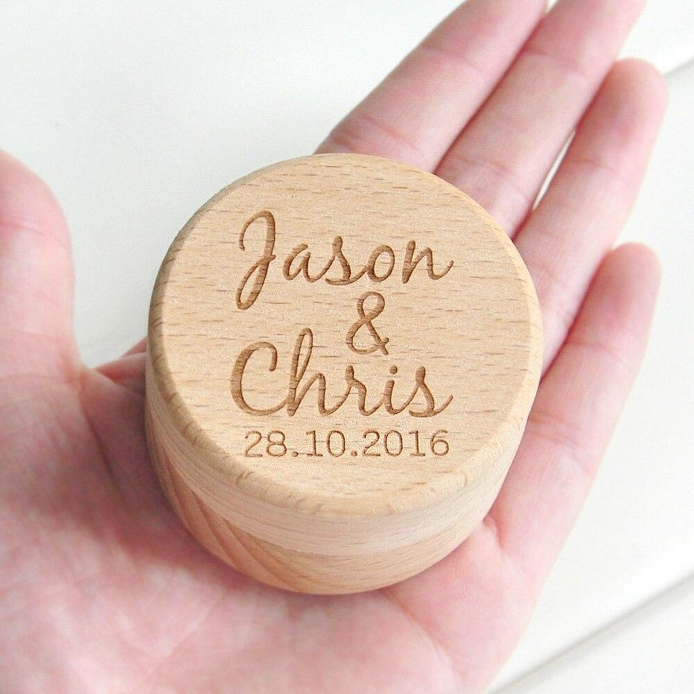 Personalizado rústico casamento anel de madeira caixa titular personalizado seus nomes e data casamento anel caixa de portador