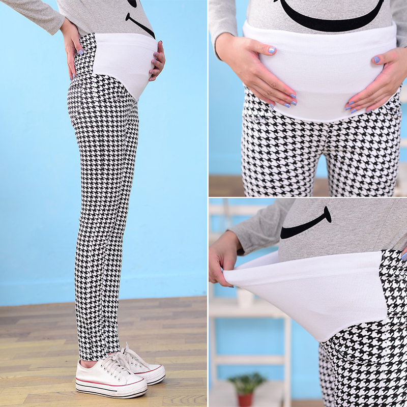 e272557034b3c Houndstooth Maternity Overalls Pants Pregnant Women for Office Ladies  Pregnancy Maternity