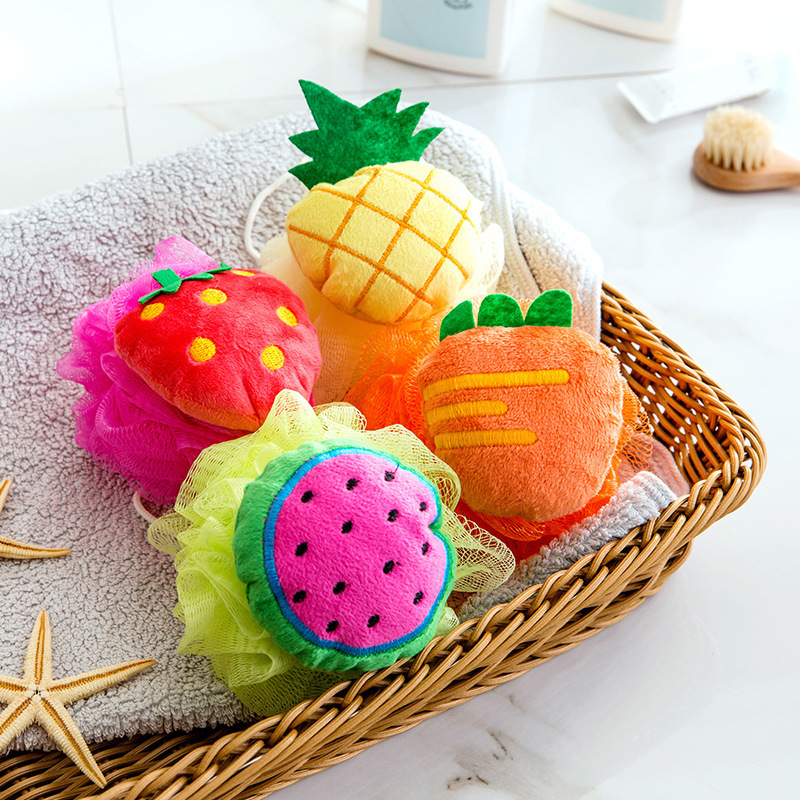 Baby Body Wash Fruit Shape Colorful Bath Ball Lovely Rubbing Foaming Net Foam Ball Bath Sponge Bath Flower Body Cleaning Scrub