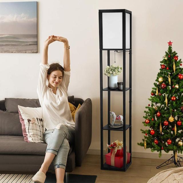 Wooden LED Floor Lamp With Shelf Lighting Standing Light