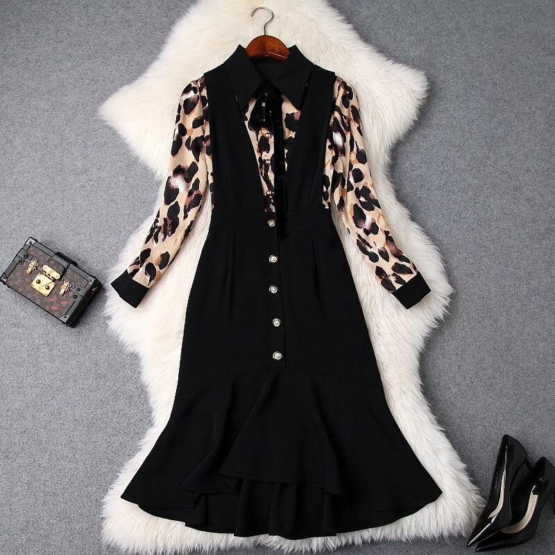 d9a2843bebf Deux Couture Black Sirène Turn 2019 Down Longue Manches Printemps Irrégulière  Robe Pièces Col New Femmes Plus Léopard Imprimé Faux Camel wqOazW