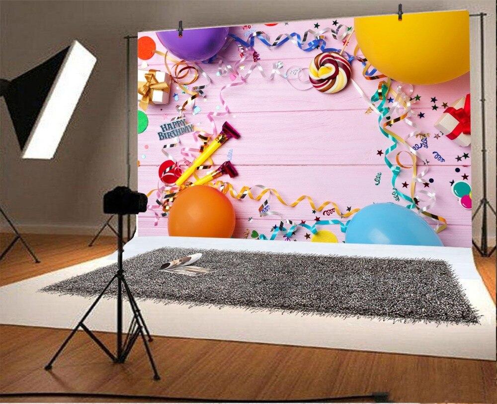 Laeacco Happy Birthday Balloon Ribbon Lollipop Scene Baby Photography Backgrounds Custom Photographic Backdrops For Photo Studio