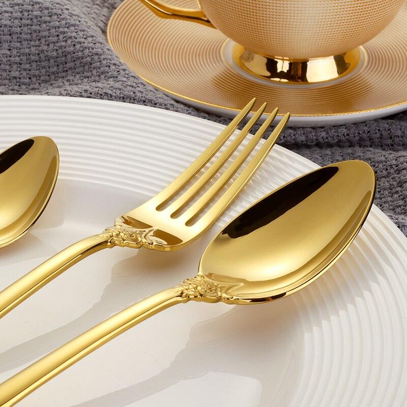 Western Luxury Dinnerware Set Stainless Steel Cutlery Set Engraving ...
