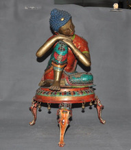 wedding decoration Tibet Tantric bronze inlay turquoise Red Coral gem sleep Sakyamuni Buddha Statue