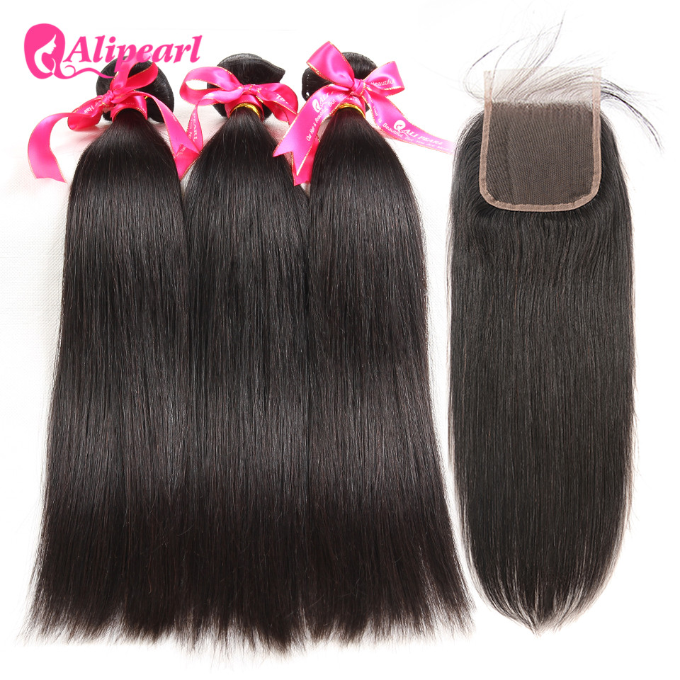 Hair Extensions & Wigs New Fashion Alipearl Hair 100% Human Hair Bundles With Closure Malaysian Straight Hair Weave 3 Bundles Remy Hair Extensions Natural Black Human Hair Weaves