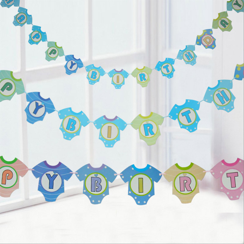 13PcsClothes Letter Garlands Supplies Babyshower Wreath Candy Bar Bunting Party Decor Slingers Wedding Happy Birthday Decoration in Banners Streamers Confetti from Home Garden