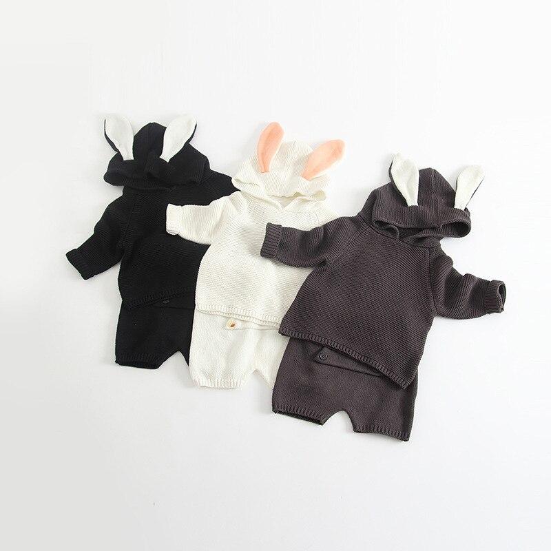 New Girls Sweater Set Rabbit Ear Sweater Knit Harem Pants 2 Pcs Set for Boy Children Spring Autumn Clothing Set