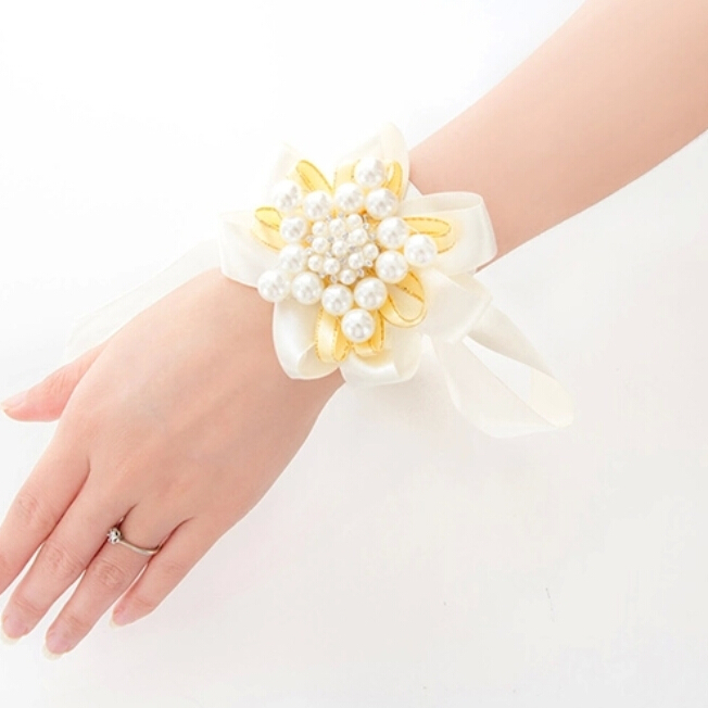 Bride Bridesmaid Wrist Corsage Wedding Diy Flowers Pearls Silk Bracelet Decor Women Wreath Accessories Sh001 In Artificial Dried From Home
