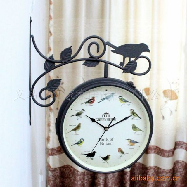 Antique Style Wall Clock Digital Watch Birds Voice Vintage With Thermometer Retro Home