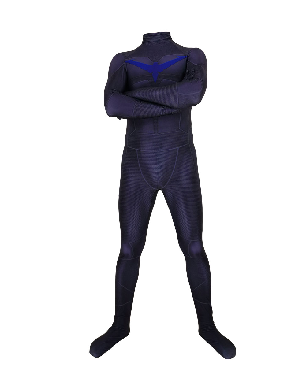 Adult Men Kids Boy Nightwing Cosplay Jumpsuit Halloween Anime Moive Superhero Costume Zentai Jumpsuit Bodysuit Suit in Movie TV costumes from Novelty Special Use