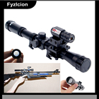 4x20 Scope Sight Red Laser Mount Tactical Crossbow Riflescope with Red Dot Laser Sight and 11mm Rail Mounts for 22 Caliber Guns