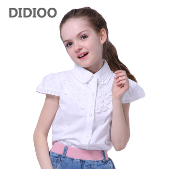 a734b5919ed School White Blouses For Girls Children Clothing Short Sleeve Lace Shirts  Girls Tops Summer Teenage Kids Clothes 5 7 9 11 13 14Y