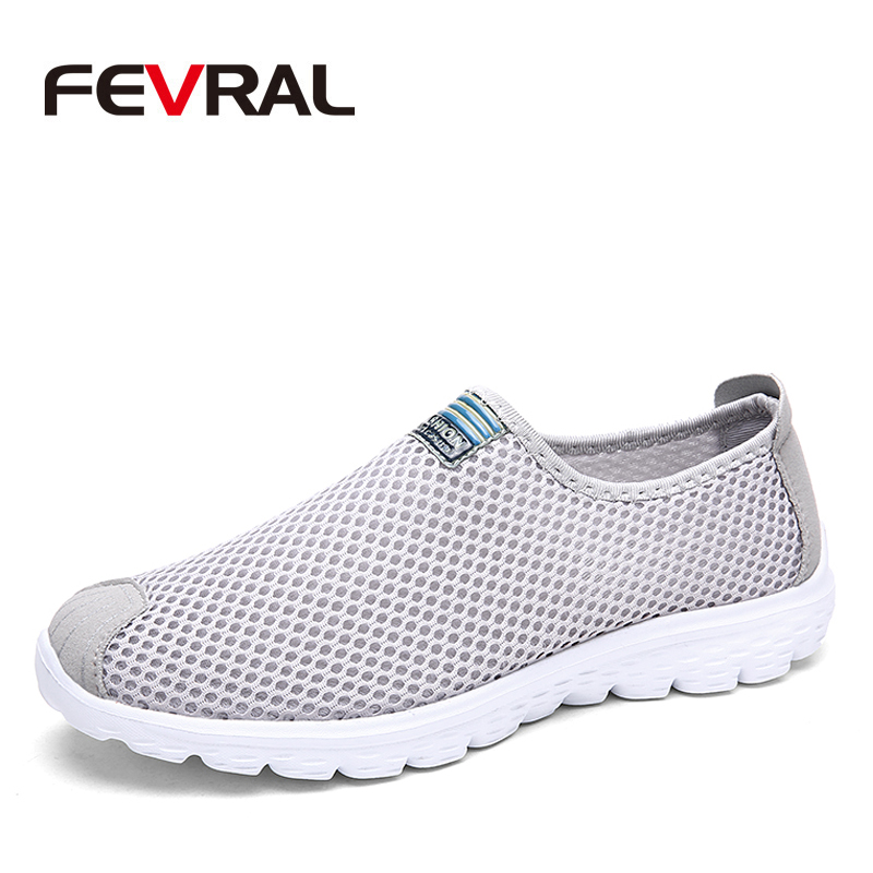 FEVRAL Summer New Breathable Unisex Sneakers Fashion Walking Shoes for Men Lightweight Soft Air Mesh Casual Shoes Men Size 35-46