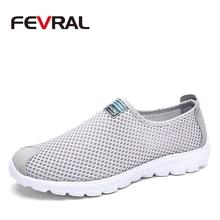 FEVRAL 여름 새로운 통기성 Unisex 스 니 커 즈 남자에 대 한 패션 워킹 신발 경량 소프트 에어 메쉬 캐주얼 신발 남자 크기 35 46