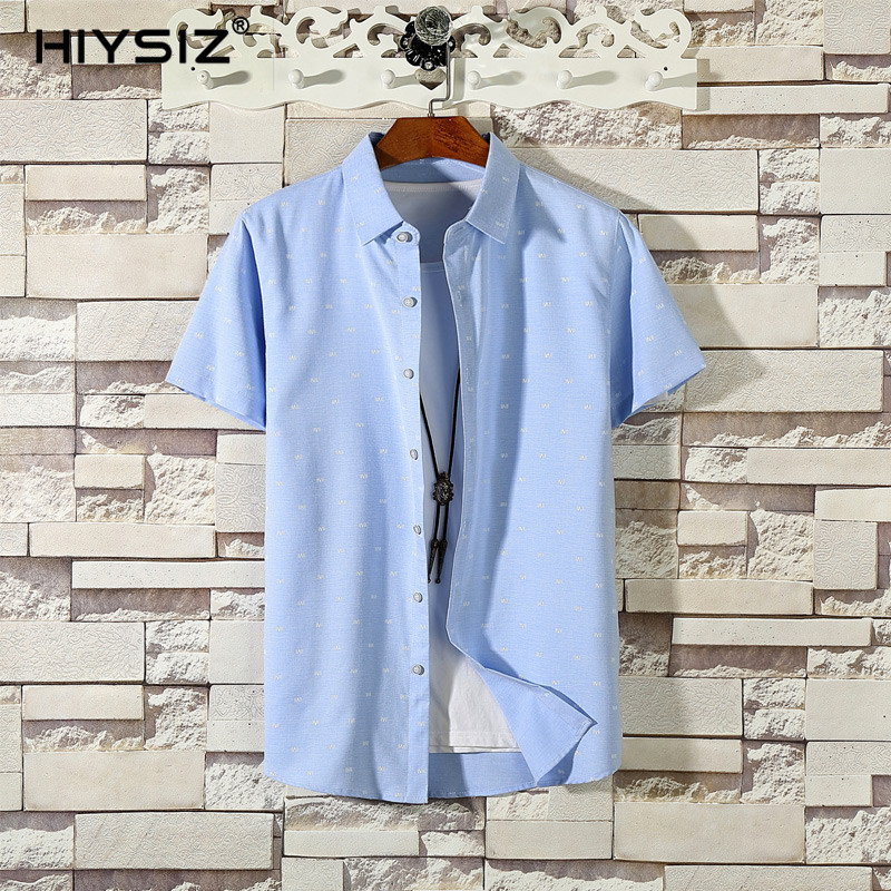 HIYSIZ NEW Shirt 2019 Brand Fashion Trend Casual Streetwear Polka dot hot Turn down Collar Shirt Men For Summer M to XXXL ST447 in Casual Shirts from Men 39 s Clothing