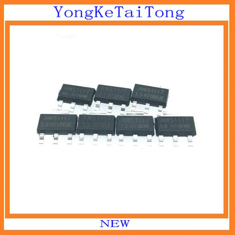 140PCS/LOT 7valuesX20=140PCS AMS1117 1.2V 1.5V 1.8V 2.5V 3.3V 5V ADJ SOT223 1117 Voltage Regulator IC REG LIN LM117