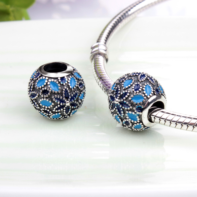Original Beads: Floral Silver 3 Shades Blue Enamel Charm Beads Fit Pandora
