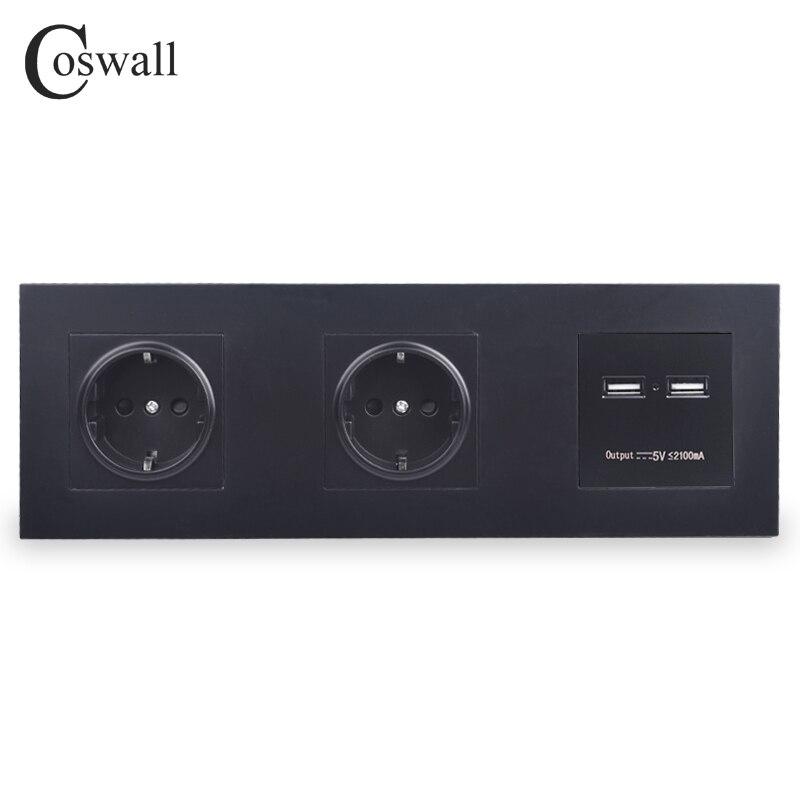 COSWALL pared PC Panel doble Socket 16A UE eléctrico salida USB Dual inteligente puerto de carga de 5 V 2A salida Caballero Negro Color