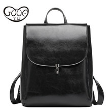 Fashion Genuine Leather Backpack Women Bags Preppy Style Backpack Girls School Bags Zipper Kanken Leather Backpack Women Bag(China)