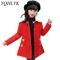 New Fashion Autumn Winter Girls Coat 2018 Han edition Slim Thicken Princess Woolen Overcoat Sweet Casual Kids Clothes 5-13Y W147
