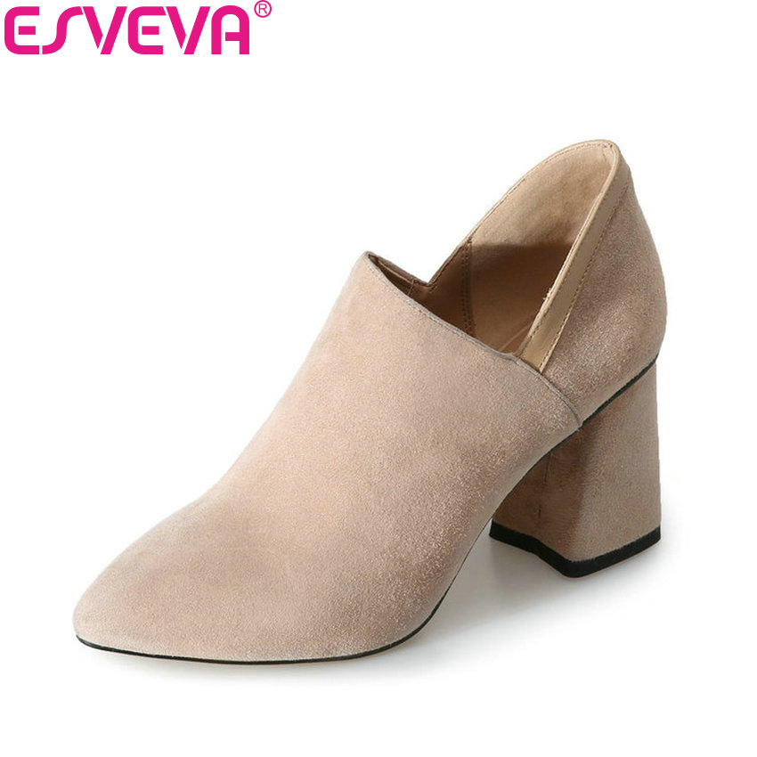 ESVEVA 2018 Women Pumps Spring and Autumn Elegant Pointed Toe Square High Heel Pumps Kid Suede PU Slip on Women Shoes Size 34-39 esveva 2017 new pointed toe pu women pumps lace up british style fashion shoes women spring square high heel pumps size 34 39
