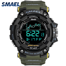 купить Mens Watch Military Water resistant SMAEL Sport watch Army led Digital wrist Stopwatches for male 1802 relogio masculino Watches по цене 651.38 рублей