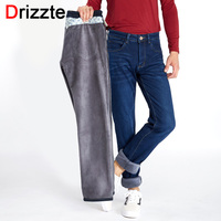 Drizzte Mens Winter Warm Fleece Lined Stretch Denim Jeans Slim Fit Trousers Pants 33 34 35