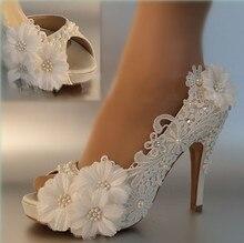 Платье Обувь Женщина Насосы обувь Peep Toe Элегантные цветы Кружева свадебные туфли размер 41