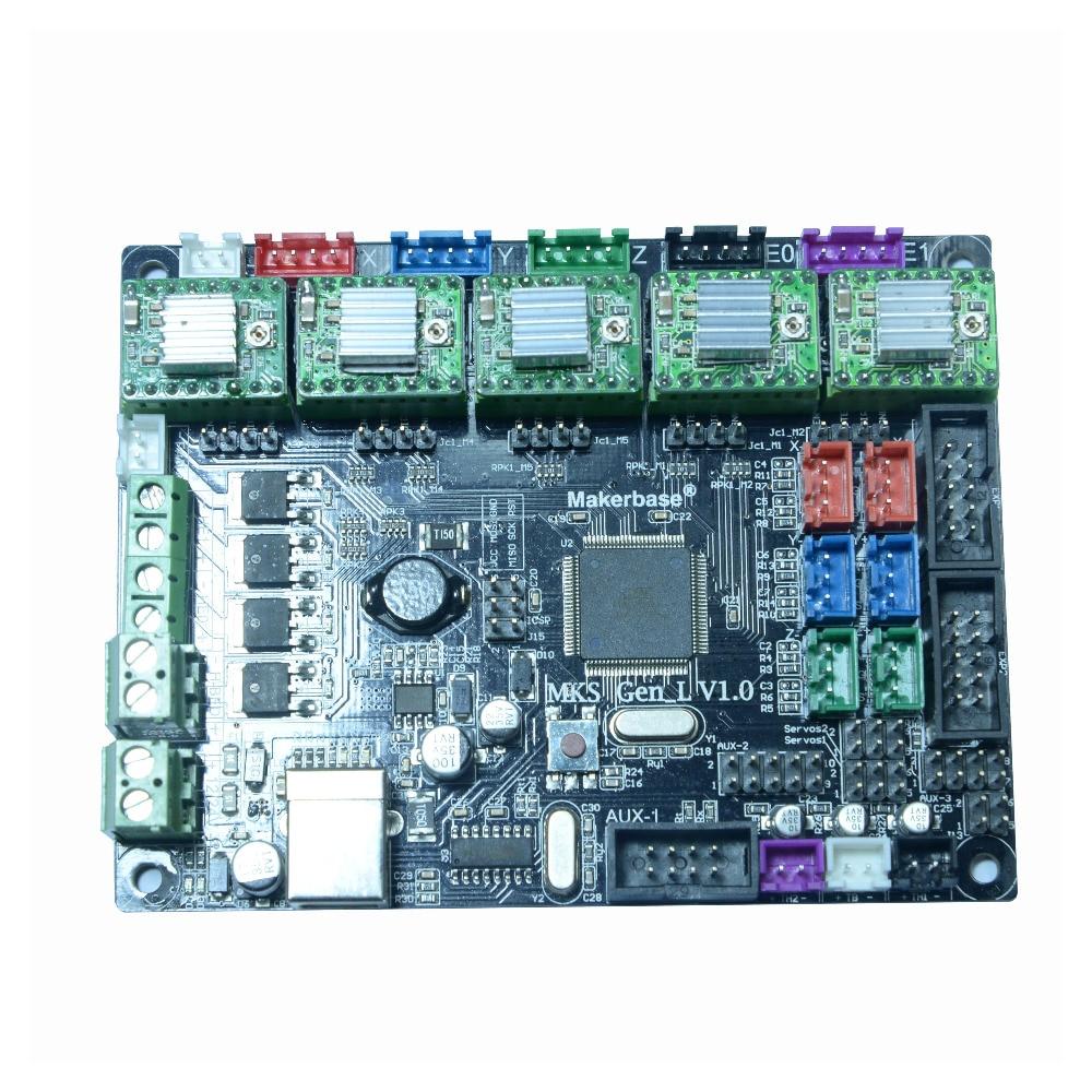 TEVO 3D Printer parts TEVO Tarantula & Tornado motherboard Makerbase MKS GEN_L V1.0 with four DRV A4988 Driver for 3D Printer