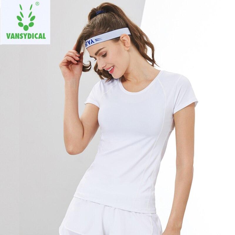 Vansydical Для женщин тренажерный зал рубашки Йога короткий рукав Фитнес бег футболки эластичная быстросохнущая тренировки бег Спортивные футб...