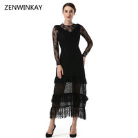 2017 Autumn Elegant New Women Lace Dress Casual Sexy Black Long Sleeve O Neck Vestidos Fashion